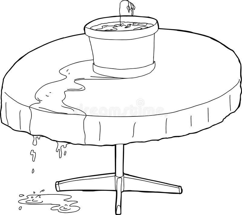 Outlined Over-Watered Plant. Outlined illustration of dying over watered plant on table vector illustration