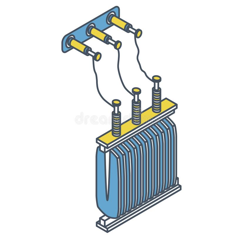 Outlined power plant detail. Power station element. Electric transformer isometric building vector illustration