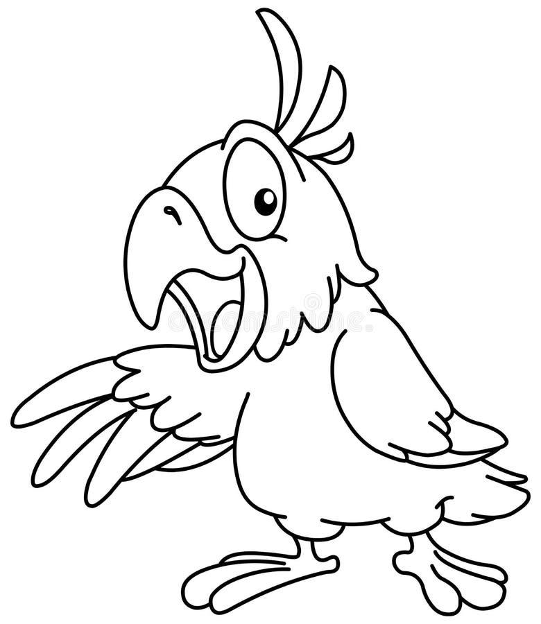 Outlined que apresenta o papagaio ilustração stock