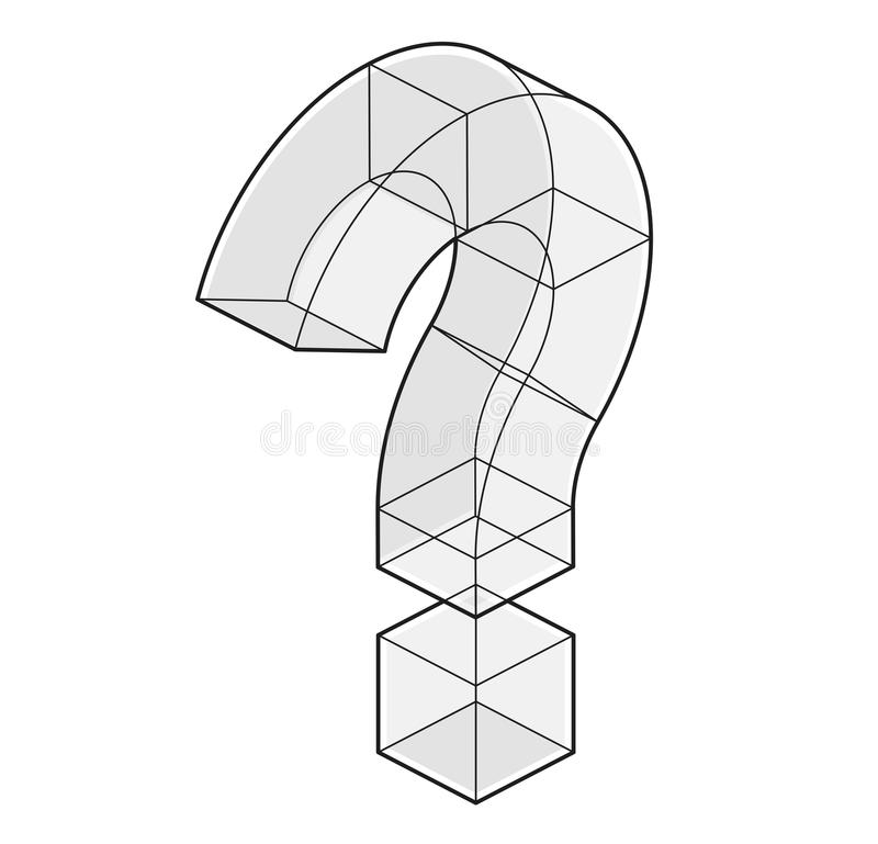 Outlined Question Mark In Isometric Perspective Isolated On White ...