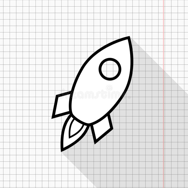 Outlined rocket icon on a copybook page vector illustration
