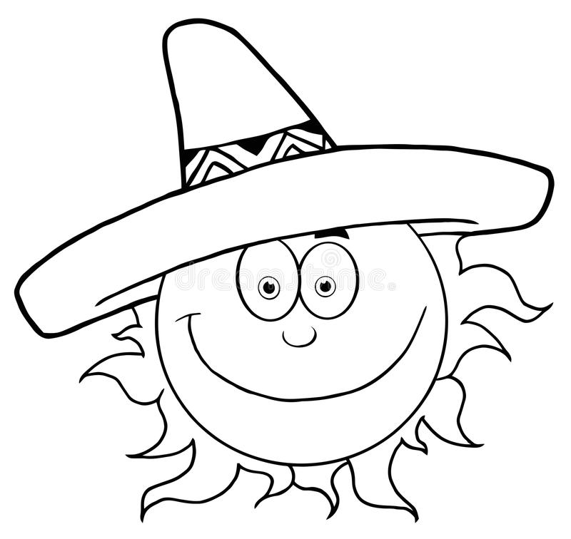 Outlined smiling sun with sombrero hat