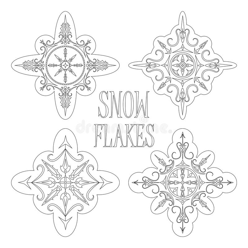 Outlined snowflakes for coloring or winter seasonal design royalty free illustration