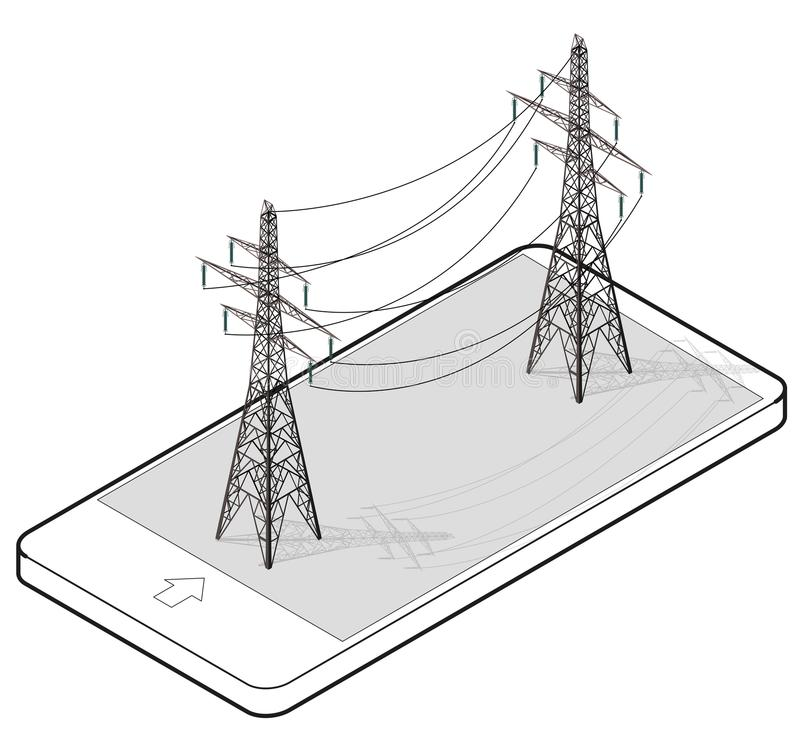 Outlined vector high voltage pylons in mobile phone, isometric perspective. stock illustration