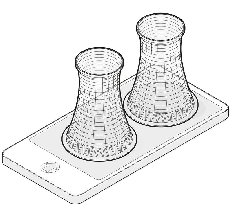 Outlined vector isometric cooling system of nuclear power plant in mobile phone. Vector isometric cooling system of nuclear power plant in mobile phone stock illustration