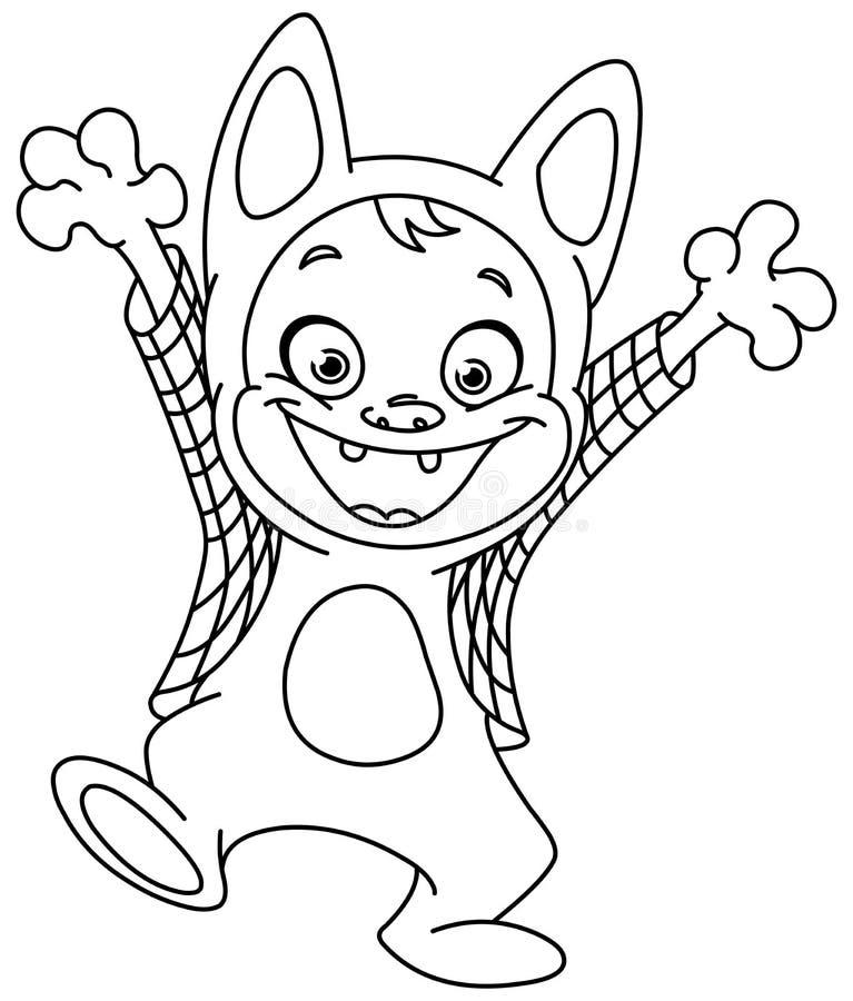 Outlined werewolf kid stock illustration