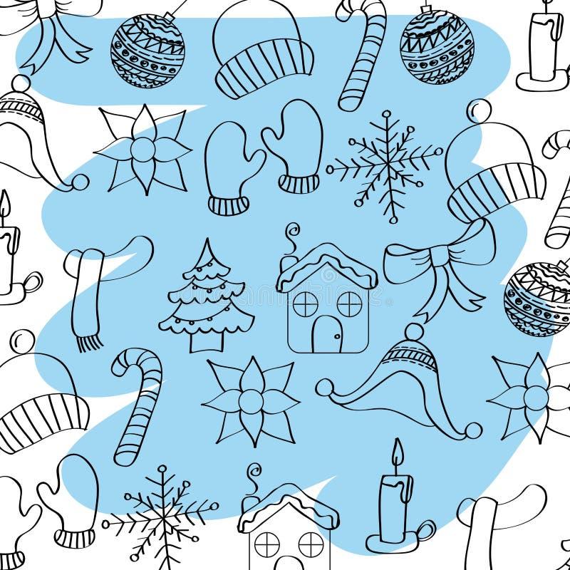 Outlined winter season weather icons blue brush stroke stock illustration