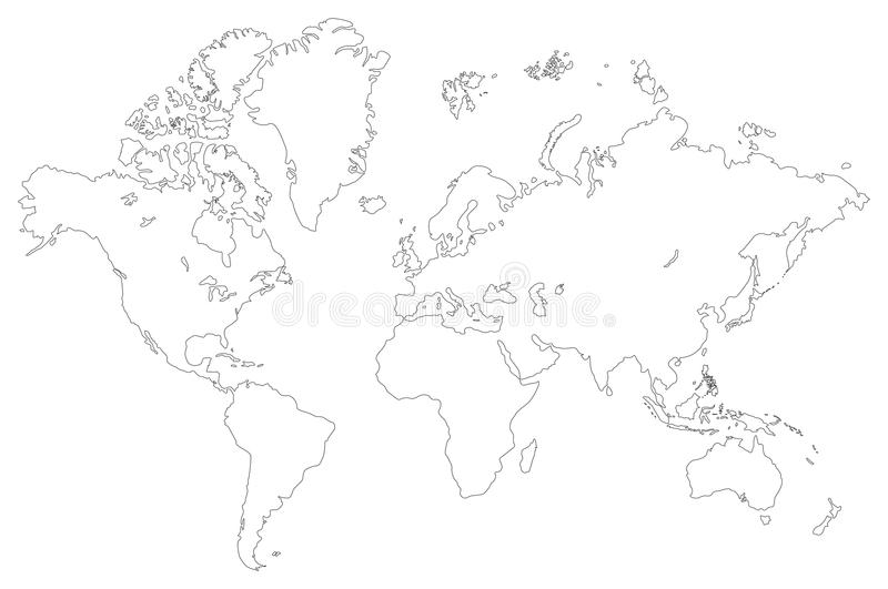 Download Outlined world map stock vector. Image of travel, planet - 13394075