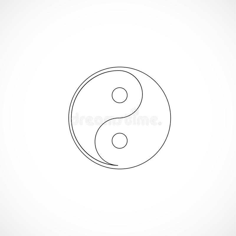 Outlined yin and yang stock illustration
