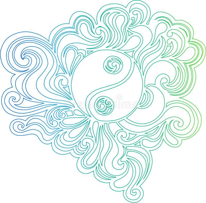 Outlined Yin Yang Vector Illustration. Outlined Yin Yang Peace Sign Vector Illustration eps stock illustration