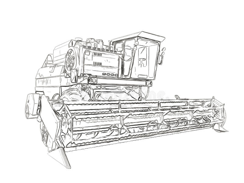 Outlines of the agricultural harvester royalty free illustration