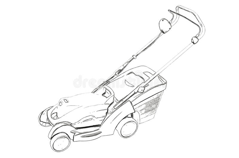 Outlines of the electric lawn mower stock illustration