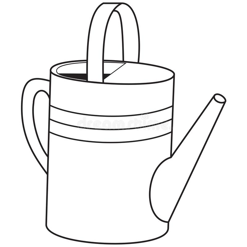 Outlines of garden watering can royalty free stock image