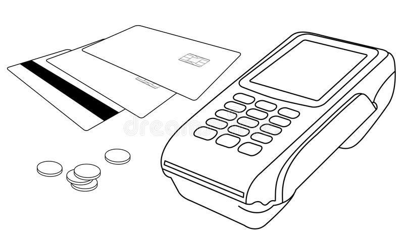 Outlines of POS terminal, credit cards and few coi stock photography