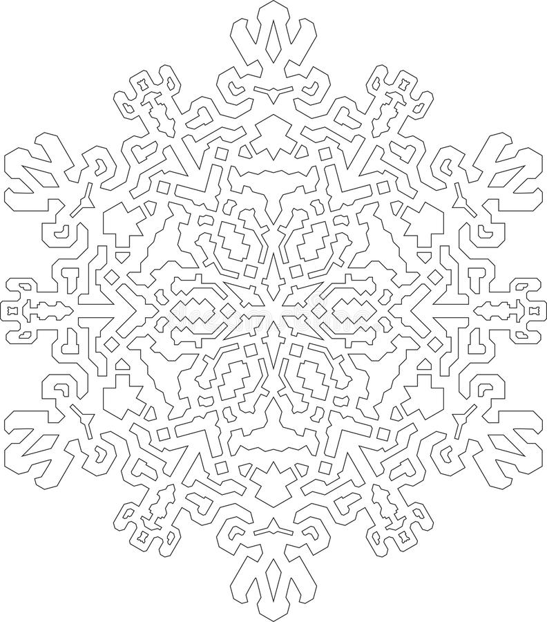 Outlines of snowflake in mono line style for coloring, coloring stock illustration