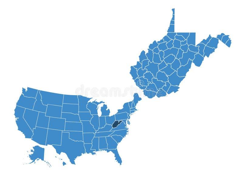 Outlne mapa Zachodnia Virginia stan ilustracji