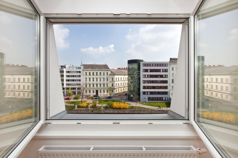 Download Outlook From An Apartment Window On Urban Setting Stock Image - Image of home, bedroom: 20397369