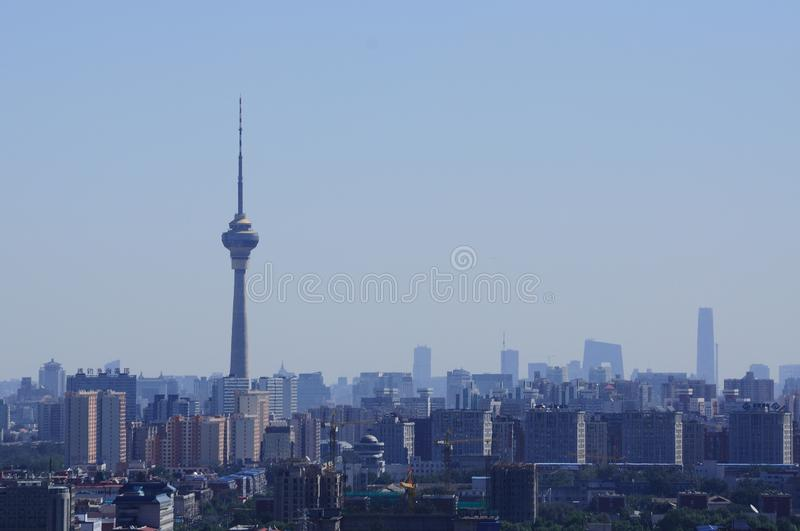 An outlook of Beijing. Including the Central Radio & Television Tower and other high buildings in furthers distance, such as CBD Office Tower, etc stock images