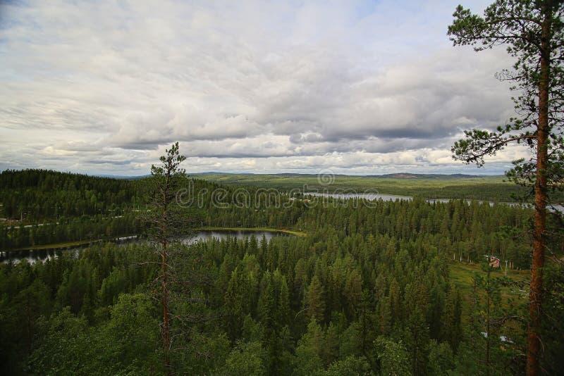 Outlook from Kyrkberget in Vilhelmina, Vasterbotten, Sweden.  stock photo