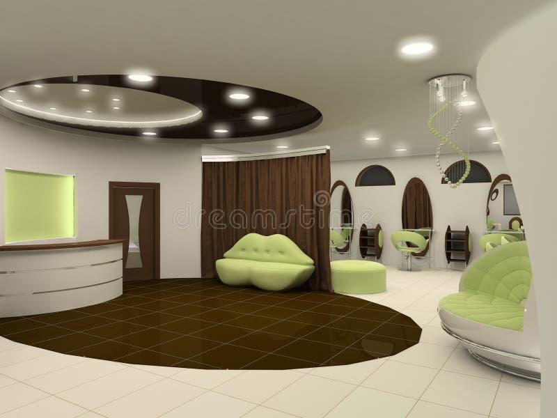 Outlook of luxury beauty salon interior space royalty free illustration