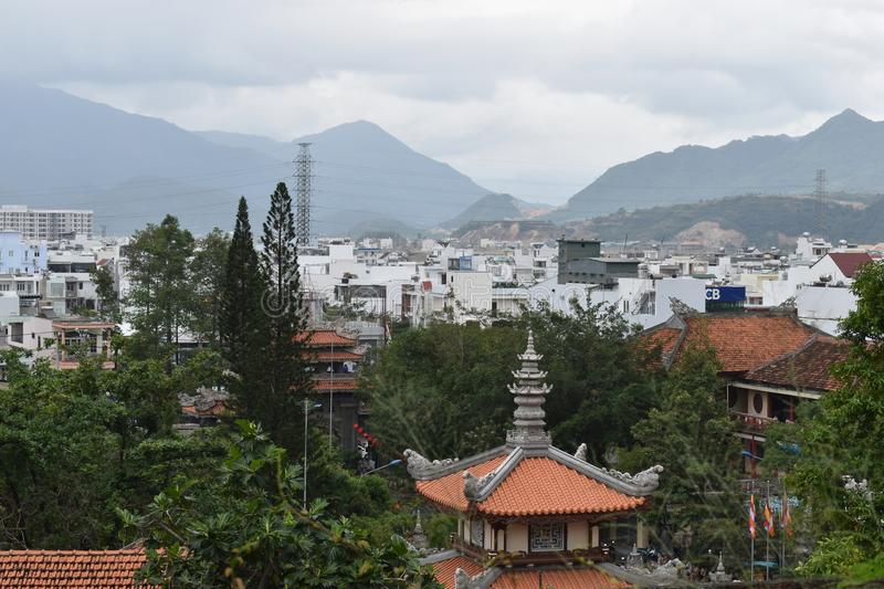 Outlook of Nha Trang City from Long Son Pagoda in Vietnam, Asia stock photo