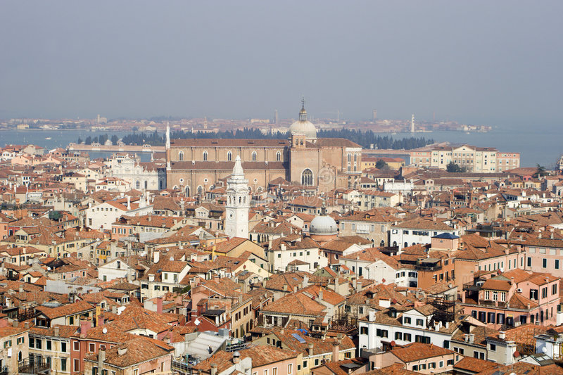 Outlook over venice from bell-tower. On the chruch Santi Giovanni e Paolo royalty free stock image