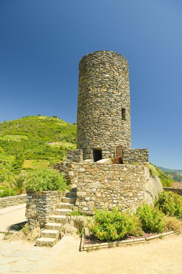 Outlook tower in Doria castle, Vernazza. Italy royalty free stock photos