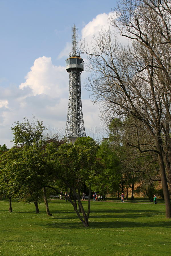 Outlook tower in the Eiffel shape. Prague outlook tower shaped as Eiffel tower royalty free stock image