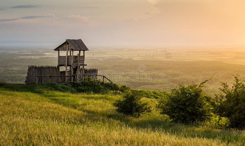 Outlook Tower on the Hill. Outlook Tower on the Braunsberg Hill in the Town of Hainburg, Austria at Sunset stock photography