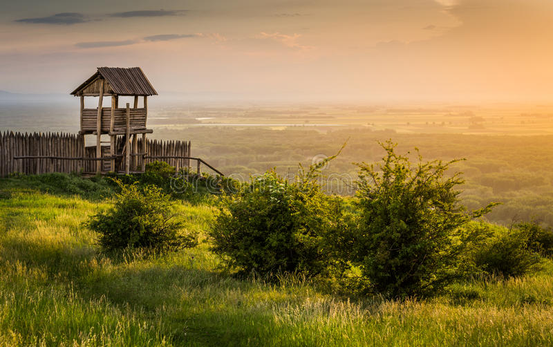 Outlook Tower on the Hill. Outlook Tower on the Braunsberg Hill in the Town of Hainburg, Austria at Sunset royalty free stock photography