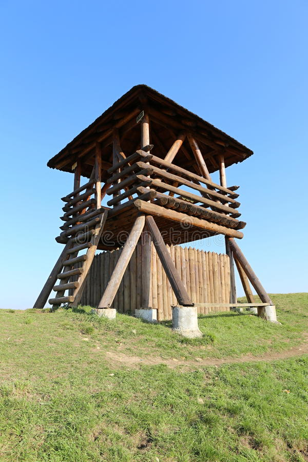 Outlook tower. Low Outlook tower in the design of Celtic opidum stock photos
