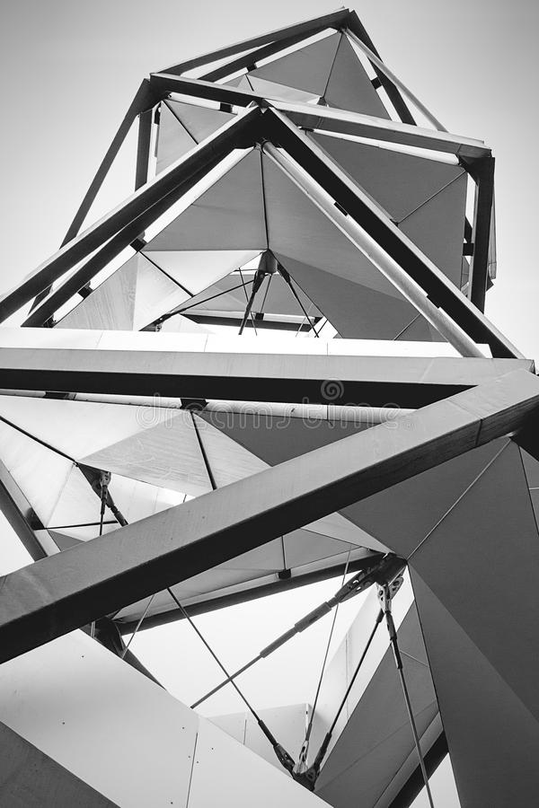 Outlook tower Murturm, Mureck, Austria. Outlook tower in south Austria. Made of Still. Interesting arhitecture concept stock photography