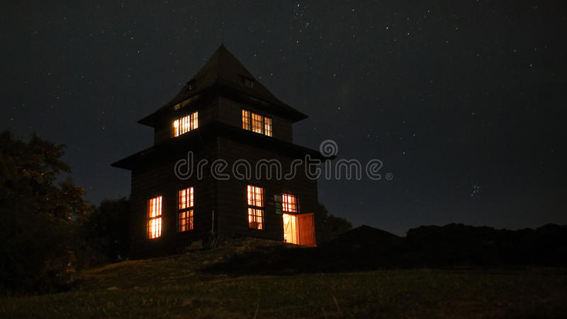 Outlook-tower at night. Luminous outlook tower at night stock photography