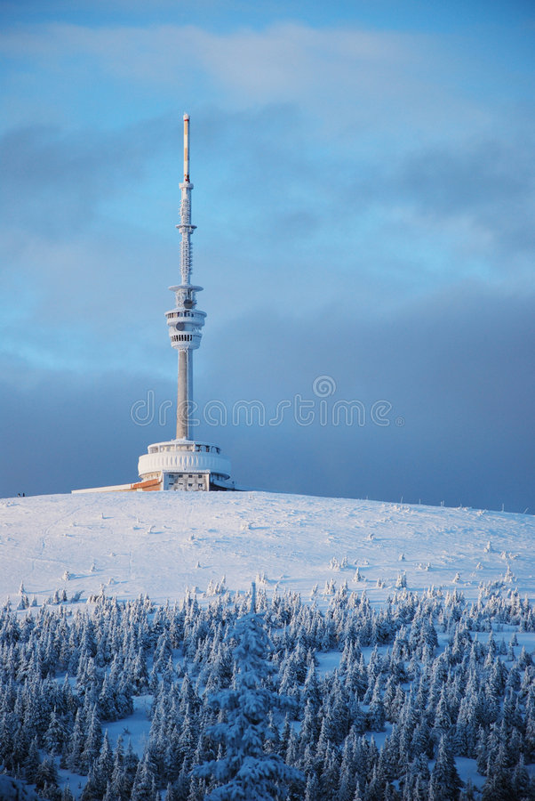 Outlook tower on Praded Mountain. Outlook tower in Jeseniky mountains on Mount Praded royalty free stock images