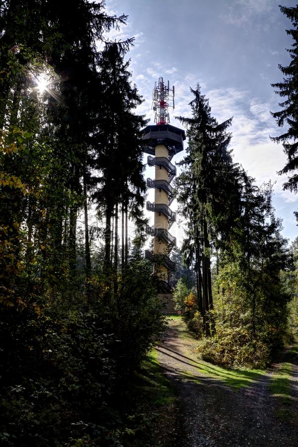 Outlook tower. In the woods with antennas on the top stock photos