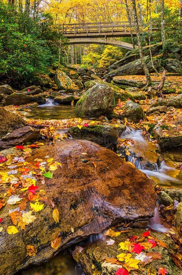outono, Boone Fork Bridge, Ridge Parkway azul fotos de stock