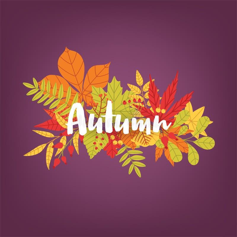 outono caligráfico escrito mão da palavra contra o grupo das folhas e de ramos caídos coloridos da árvore no fundo gorgeous ilustração do vetor