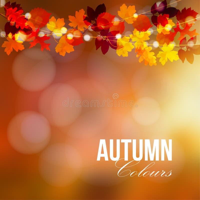 outono, cartão da queda, bandeira Decoração do partido de jardim Corda do carvalho poligonal, folhas de bordo, luzes Ilustração m ilustração royalty free