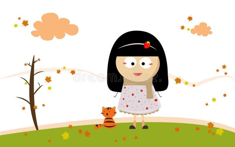 outono com menina e gato imagens de stock royalty free
