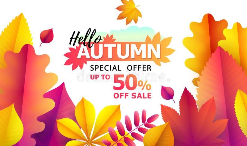 outono do texto olá!, discontos de 50 Preço sazonal do outono sale Até 50 fora Fundo do vetor das folhas de queda ilustração stock