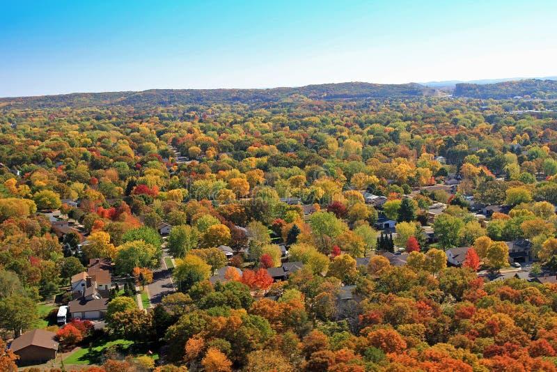 outono Eau residencial aéreo Claire Wisconsin fotos de stock