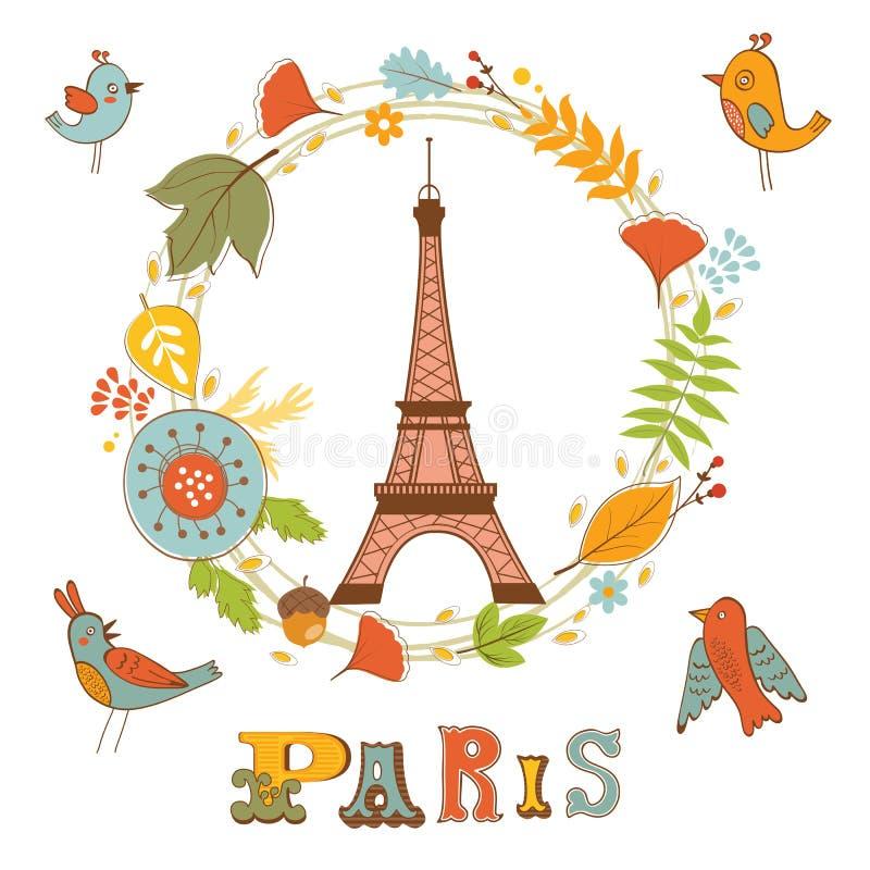 Outono em Paris Cartão elegante com grinalda floral ilustração royalty free