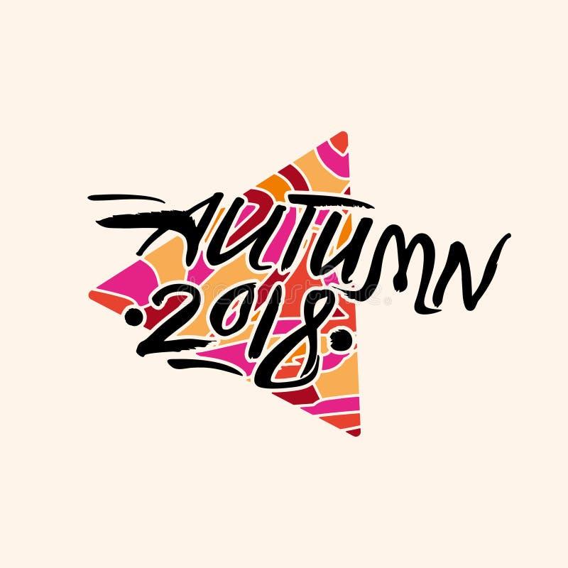 outono 2018 Inscrição caligráfica contra de um triângulo brilhante ilustração stock