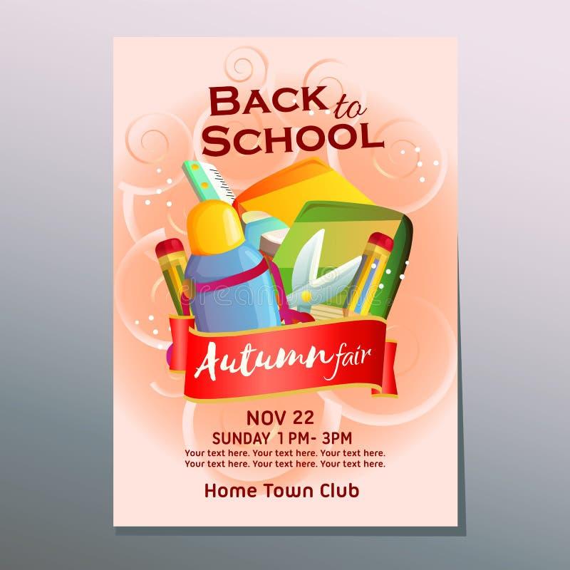 outono justo de volta ao cartaz da escola com estacionário ilustração stock