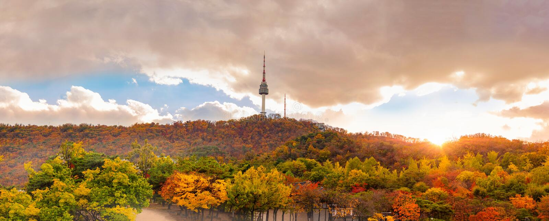 outono na torre de Seoul na montanha de Namsan em Seoul, Coreia do Sul foto de stock royalty free