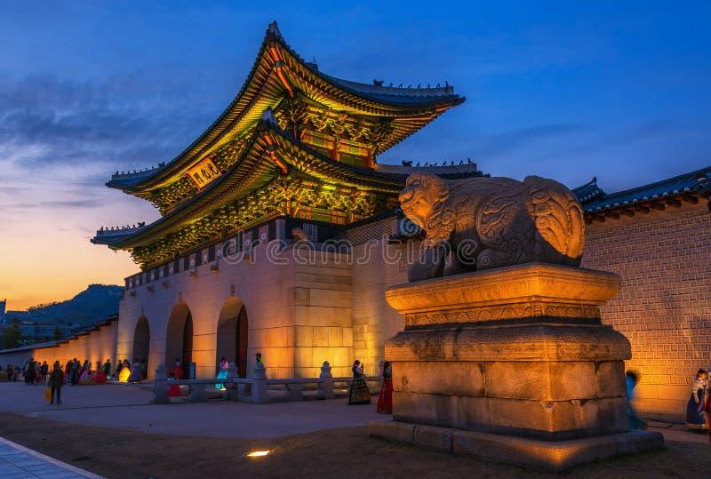 outono no palácio de Gyeongbokgung em seoul, Coreia fotografia de stock royalty free