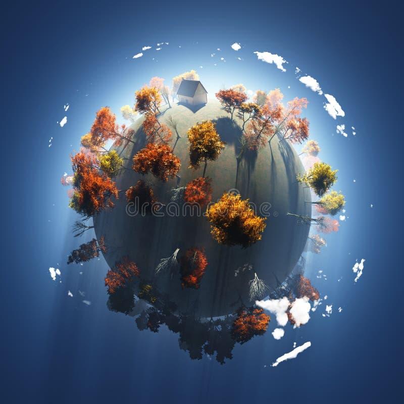 Download Outono no planeta pequeno ilustração stock. Ilustração de espaço - 12808902
