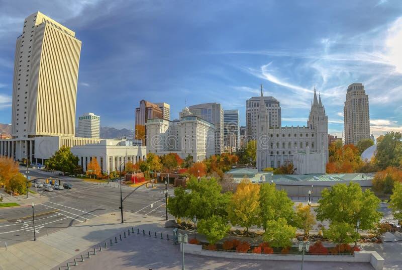 outono no quadrado histórico Salt Lake City do templo foto de stock
