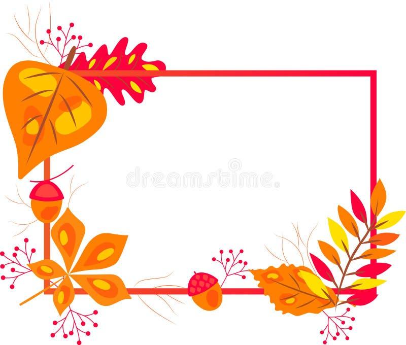 OUTONO Quadro-com as folhas de outono de queda vermelhas, alaranjadas, verdes e amarelas ilustração royalty free