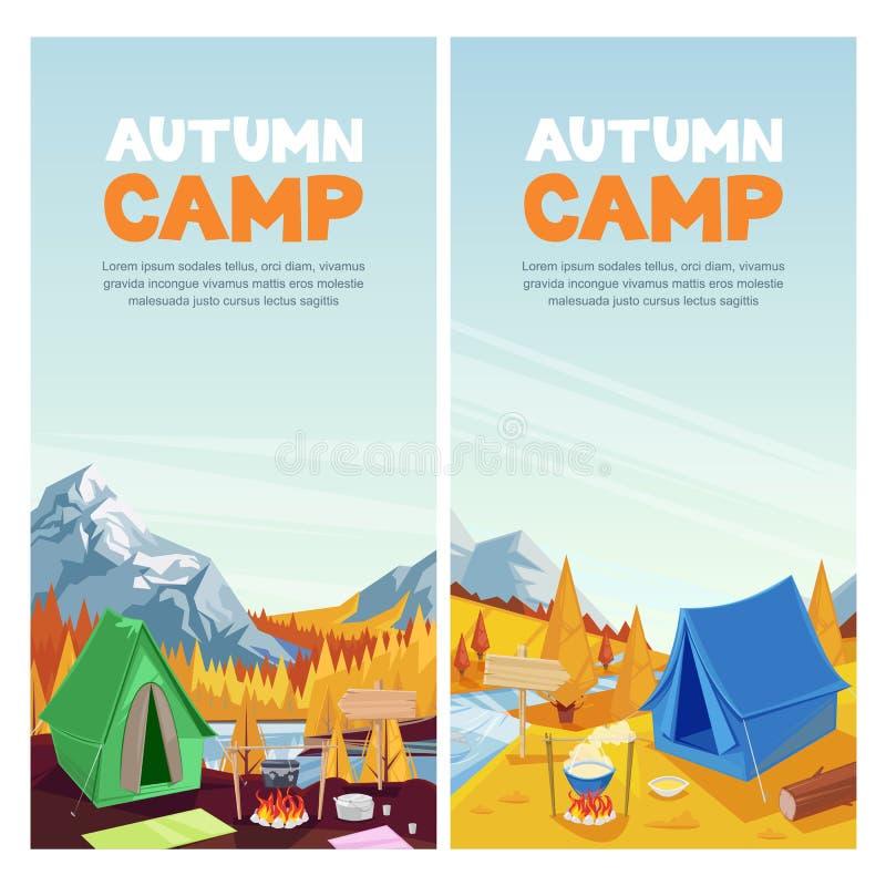 outono que acampa nas montanhas vale, bandeira do vetor, molde do projeto do cartaz Conceito do turismo das aventuras, do curso e ilustração royalty free